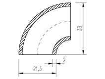"""Oblouk trubkový  21,3x2,0 (1/2"""")  90°"""