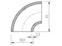 """oblouk trubkový  26,9x2,3 (3/4"""")  90°"""