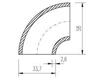 """oblouk trubkový  33,7x2,6 (1"""")  90°"""