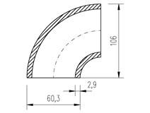 """oblouk trubkový  60,3x2,9 (2"""")  90°"""