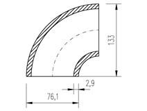 oblouk trubkový  76,1x2,9  90°