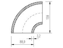 oblouk trubkový  88,9x3,2 (3,6)  90°