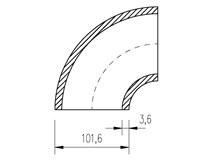 oblouk trubkový 101,6x3,6  90°