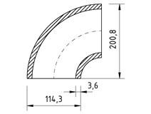 Koleno varné 114,3x3,6  90°