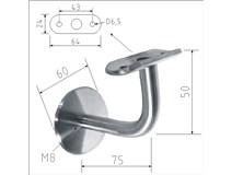 držák madla nerez na stěnu pevný pro D42,4mm na hmoždinku