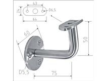 držák madla nerez na stěnu pevný pro D42,4mm příruba 3x otvor