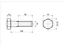 DIN 931 Zn M12x160 8.8 šroub 6HR částečný závit