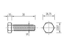 DIN 933 Zn M16x 30 8.8 šroub 6HR celý závit