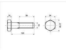 DIN 931 Zn M16x120 8.8 šroub 6HR částečný závit
