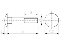 DIN 603 Zn M 5x 50 šroub vratový
