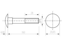 DIN 603 Zn M 8x160 šroub vratový
