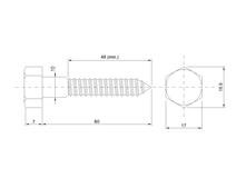 DIN 571 Zn 10,0x 80 vrut 6HR hlava