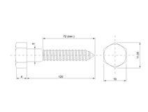 DIN 571 Zn  6,0x120 vrut 6HR hlava