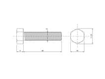 DIN 933 Zn M 6x 40 8.8 šroub 6HR celý závit