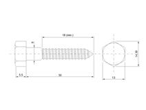 DIN 571 Zn  8,0x 30 vrut 6HR hlava