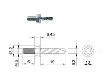 DIN 7504 Zn 6,3x 19/ M6x 6 šroub s přípojem 6HR TEX samovrtný