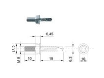 DIN 7504 Zn 6,3x 19/ M8x10 šroub s přípojem 6HR TEX samovrtný